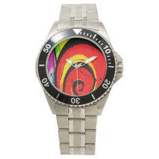 Relógio De Pulso Arte abstracta vermelha do redemoinho