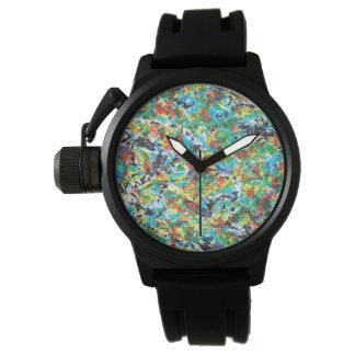 Relógio De Pulso Arte colorida do teste padrão de flor do primavera
