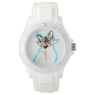 Relógio De Pulso Arte da aguarela do gato Siamese