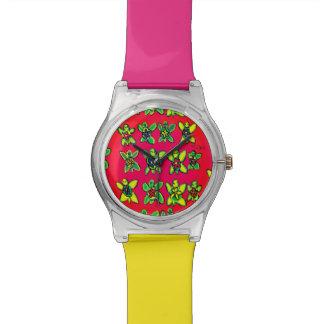 Relógio De Pulso Arte da flor da tartaruga