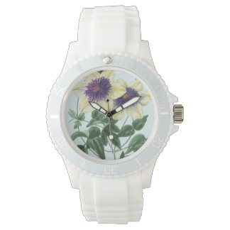 Relógio De Pulso Arte da flor do Clematis