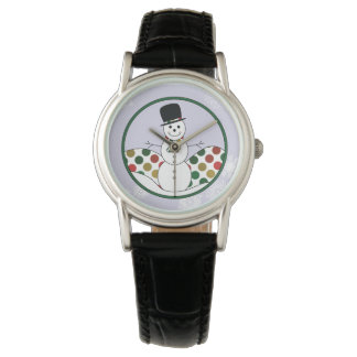 Relógio De Pulso Arte de Polkadot do boneco de neve do Natal