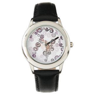 Relógio De Pulso Arte de roda roxa Groovy