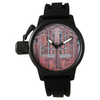 Relógio De Pulso Arte digital da reflexão azul vermelha das janelas