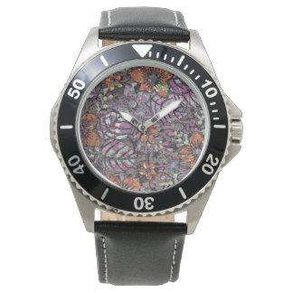 Relógio De Pulso Arte digital romântica do teste padrão floral das