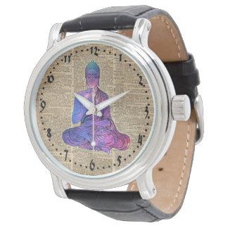 Relógio De Pulso Arte do dicionário do vintage de Buddha do espaço