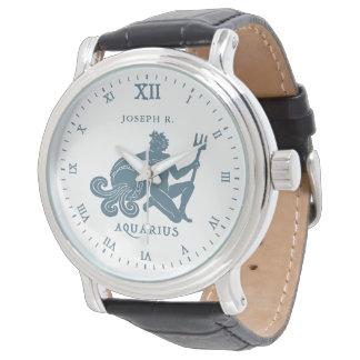 Relógio De Pulso Arte | do vintage do sinal da estrela do Aquário