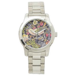 Relógio De Pulso Arte floral Nouveau do ladrão da morango de