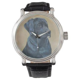 Relógio De Pulso arte preta do realista do retrato do cão de