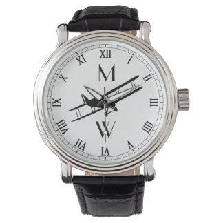 Relógio De Pulso Avião Monogrammed do vintage