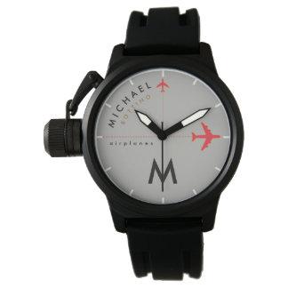Relógio De Pulso aviões vermelhos com inicial & nome do piloto