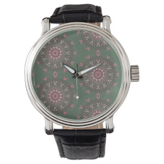 Relógio De Pulso Azeitona ornamentado da mandala de Boho