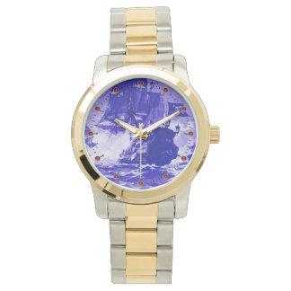 Relógio De Pulso Azuis marinhos da BATALHA do NAVIO de PIRATA