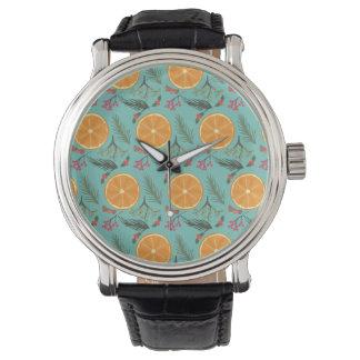 Relógio De Pulso Azul alaranjado do impressão da grinalda do Natal
