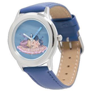 Relógio De Pulso Azul de aço inoxidável dos DESENHOS ANIMADOS