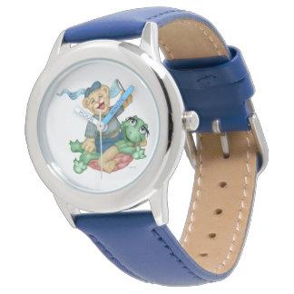 Relógio De Pulso Azul de aço inoxidável dos DESENHOS ANIMADOS do