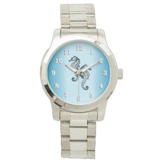 Relógio De Pulso Azul do cavalo marinho