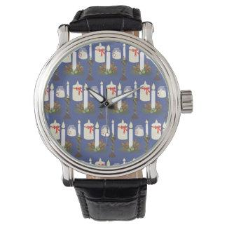 Relógio De Pulso Azul festivo do impressão da vela