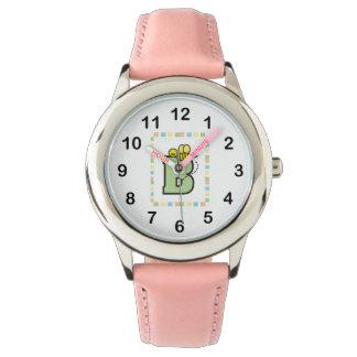 Relógio De Pulso B é para o amarelo azul do rosa do verde da abelha