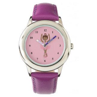 Relógio De Pulso Bailarina roxa bonita do afro-americano