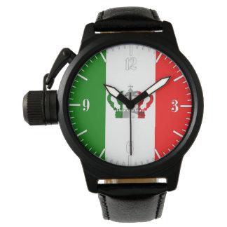 Relógio De Pulso Bandeira de Italo do italiano de Italia da coroa