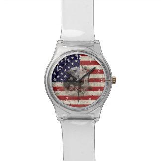 Relógio De Pulso Bandeira e símbolos dos Estados Unidos ID155
