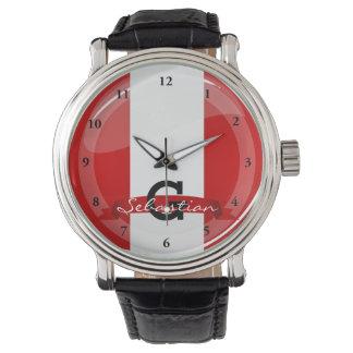 Relógio De Pulso Bandeira peruana redonda lustrosa