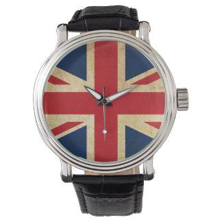 Relógio De Pulso Bandeira velha Union Jack de Reino Unido do Grunge
