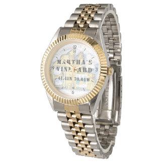 Relógio De Pulso Barqueiro da longitude da latitude do Martha's