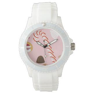 Relógio De Pulso Bastões e chocolates de doces no rosa