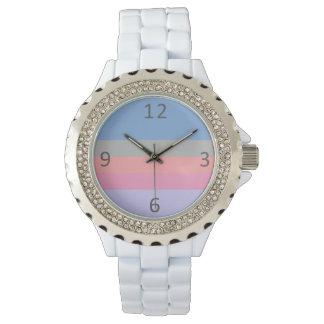 Relógio De Pulso bloco roxo azul cinzento coral da cor do rosa