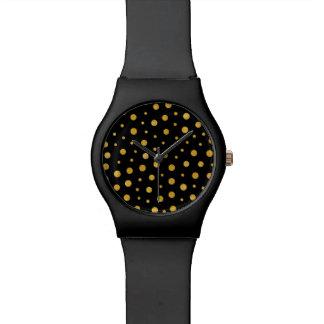 Relógio De Pulso Bolinhas elegantes - ouro preto
