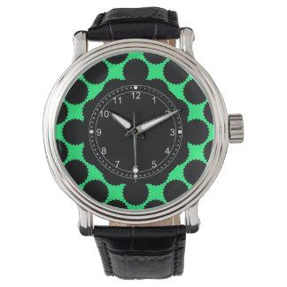 Relógio De Pulso Bolinhas pretas no verde do quivi