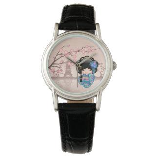 Relógio De Pulso Boneca de Keiko Kokeshi - menina de gueixa azul do
