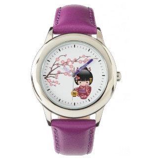 Relógio De Pulso Boneca de Sakura Kokeshi - menina de gueixa
