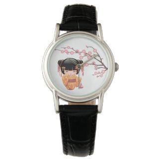 Relógio De Pulso Boneca de Ume Kokeshi - menina de gueixa do