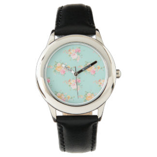 Relógio De Pulso bonito, hortelã, chique, chique do país, floral,