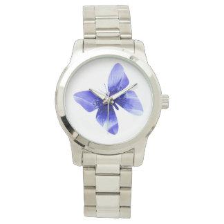 Relógio De Pulso Borboleta da papoila azul, grande unisex