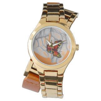 Relógio de pulso borboleta de ouro