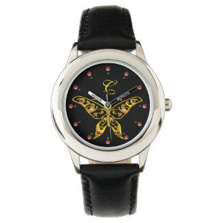Relógio De Pulso BORBOLETA HYPER do OURO COM preto do monograma de
