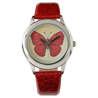 Relógio De Pulso Borboleta vermelha do planador do sangue