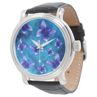 Relógio De Pulso Borboletas azuis do verão,
