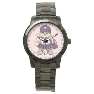 Relógio De Pulso Bracelete preto desproporcionado da MENINA do CAT