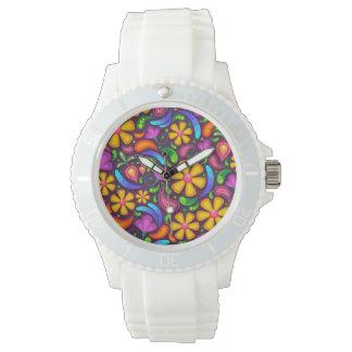 Relógio de pulso branco desportivo do silicone das