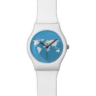 Relógio De Pulso branco no mundo azul