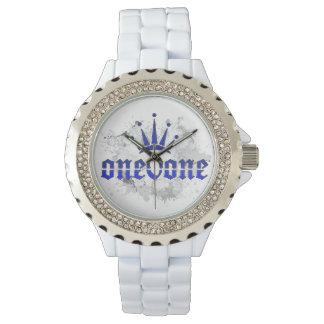 Relógio De Pulso Branco real da coroa do abstrato 101