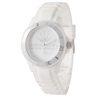Relógio De Pulso Branco real da coroa no branco 101