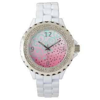 Relógio De Pulso brushstroke geométrico do rosa do teste padrão do