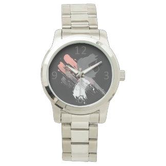 Relógio De Pulso brushstrokes brancos e cinzentos cor-de-rosa