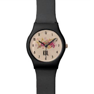 Relógio De Pulso Buquê cor-de-rosa e alaranjado da flor no fundo do